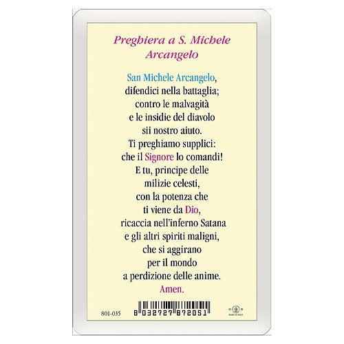 Estampa religiosa San Miguel Arcángel Oración contra el Maléfico ITA 10x5 2