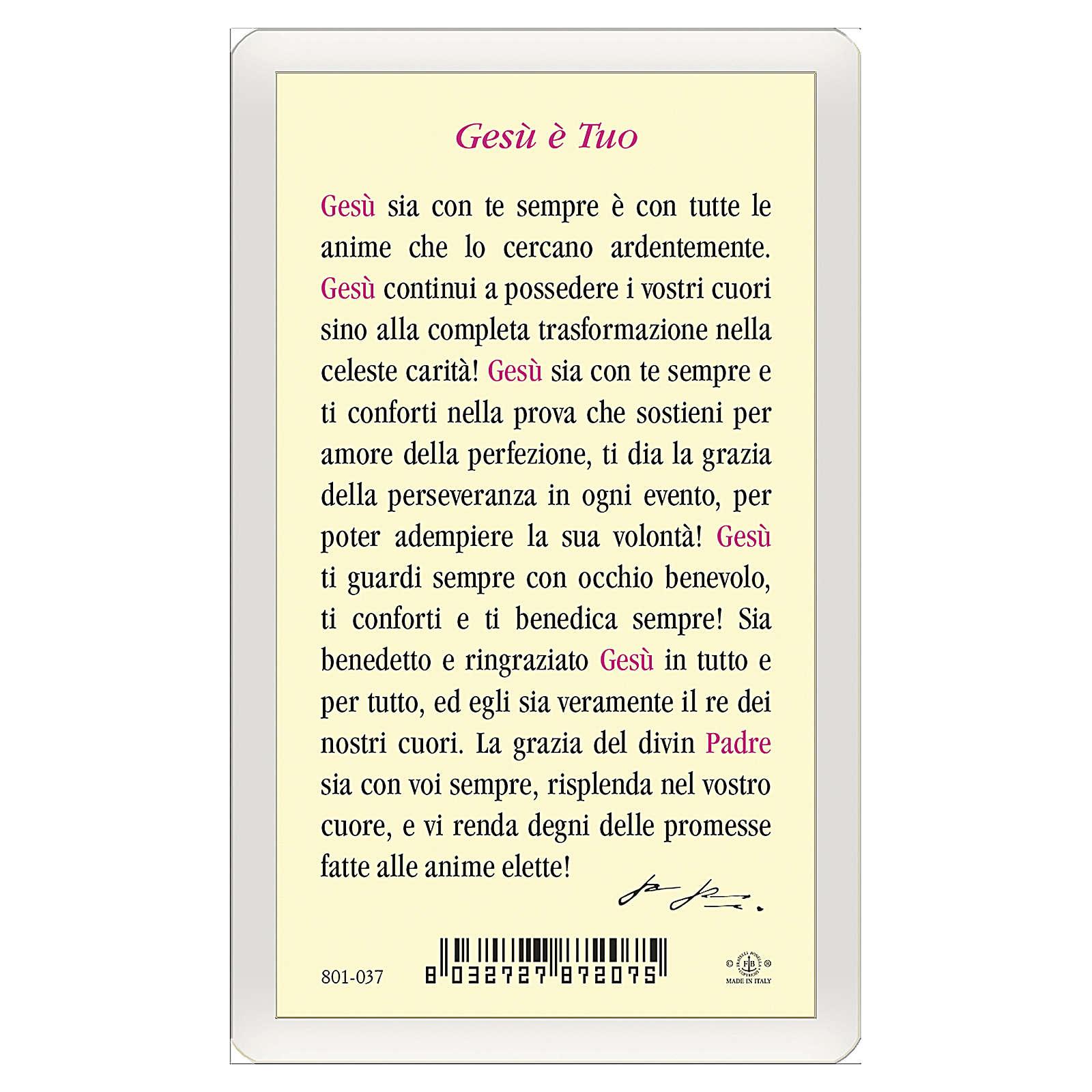 Estampa religiosa Padre Pío Jesús es Tuyo ITA 10x5 4