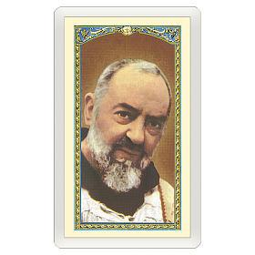 Estampa religiosa Padre Pío Jesús es Tuyo ITA 10x5 s1