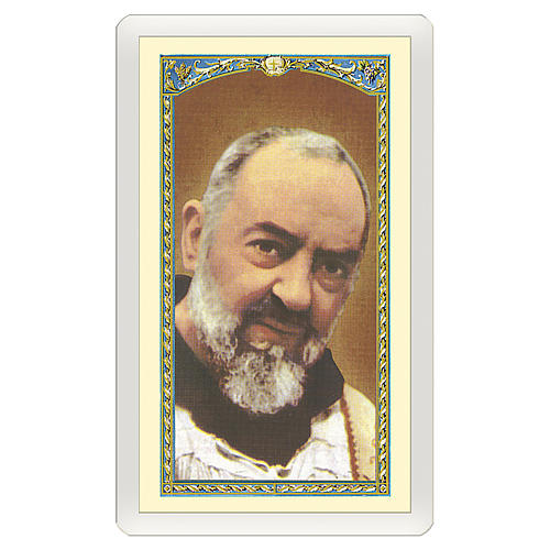 Estampa religiosa Padre Pío Jesús es Tuyo ITA 10x5 1
