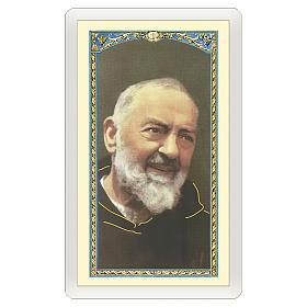 Image votive Padre Pio Prière à Padre Pio ITA 10x5 cm s1