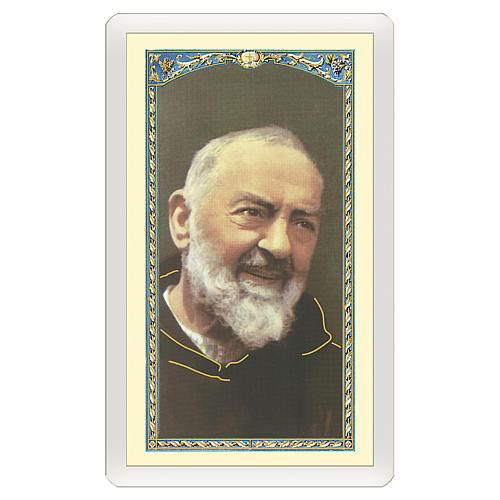 Image votive Padre Pio Prière à Padre Pio ITA 10x5 cm 1