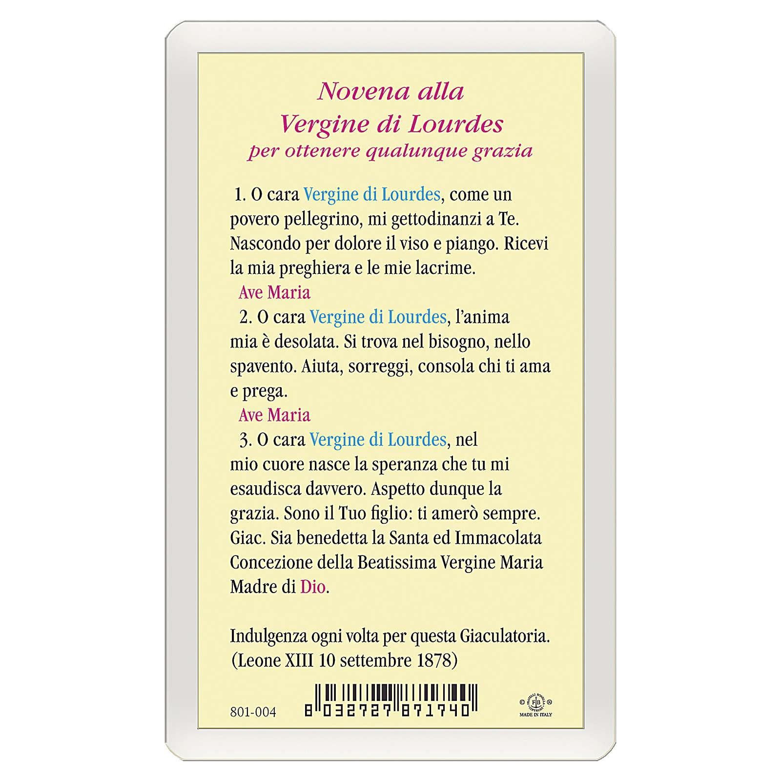 Estampa religiosa Virgen de Lourdes Novena a la Virgen de Lourdes ITA 10x5 4
