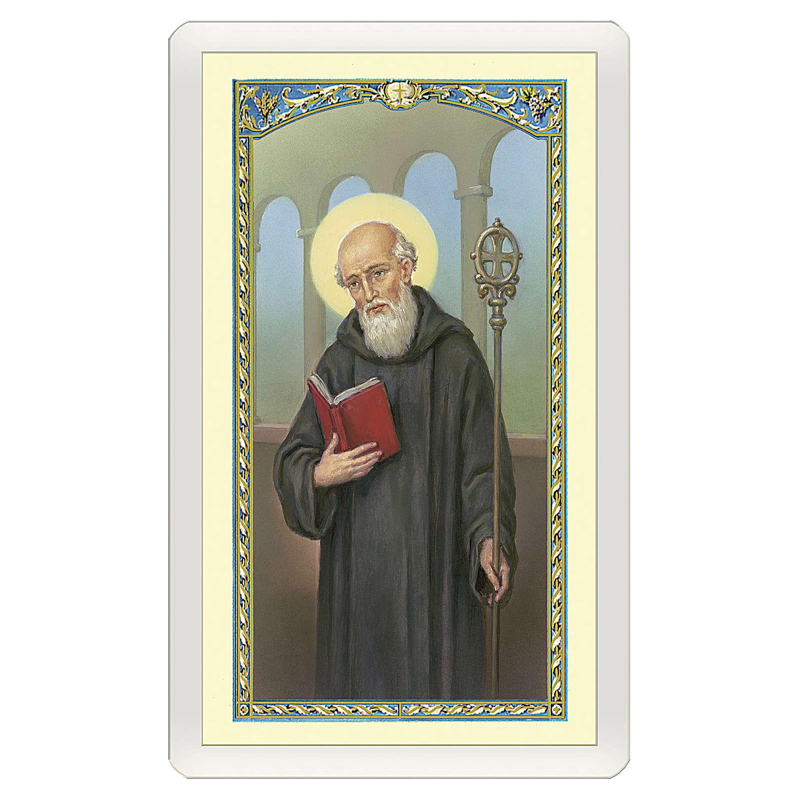 Estampa religiosa San Benito Oración ITA 10x5 4