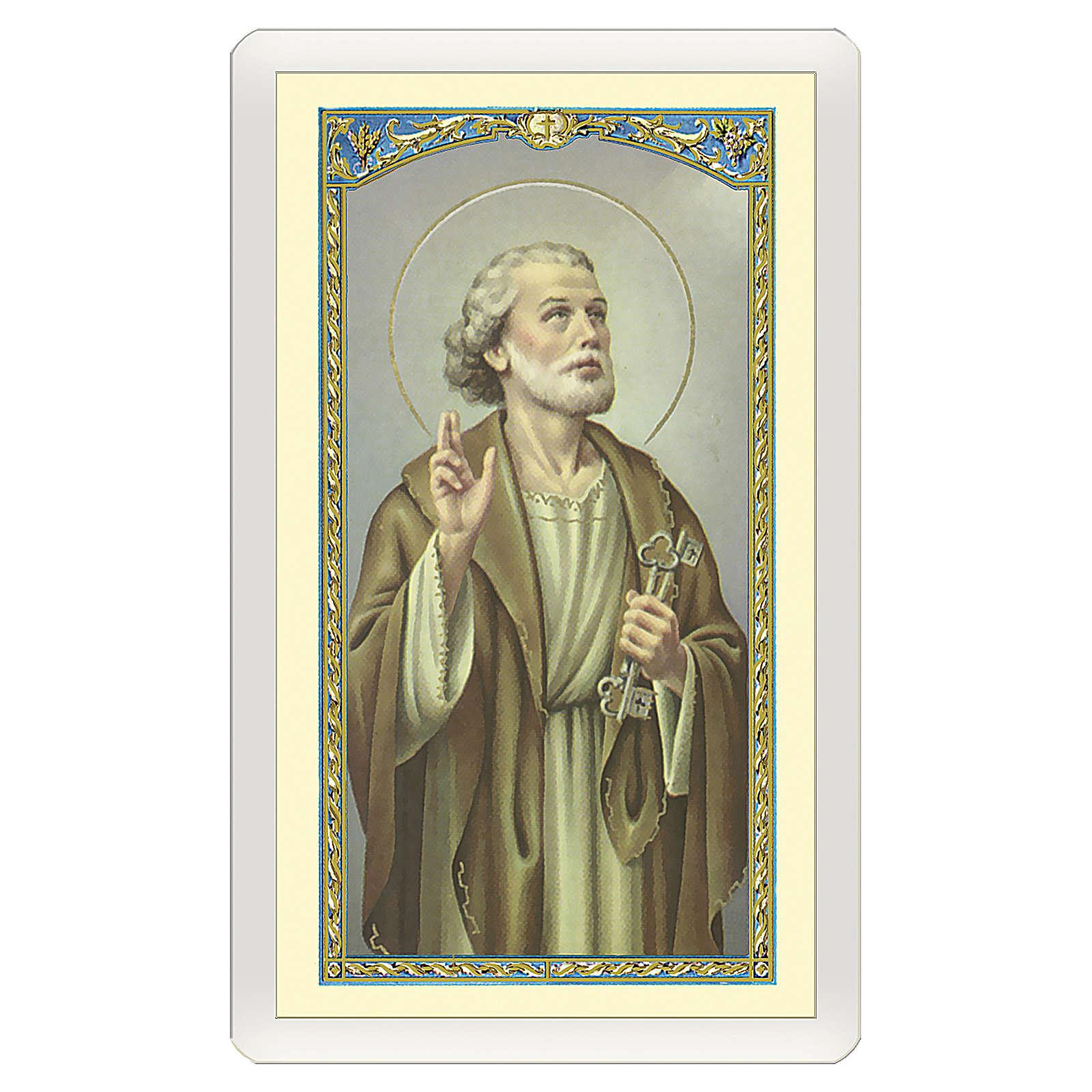 Estampa religiosa San Pedro Apóstol Novena a San Pedro ITA 10x5 4