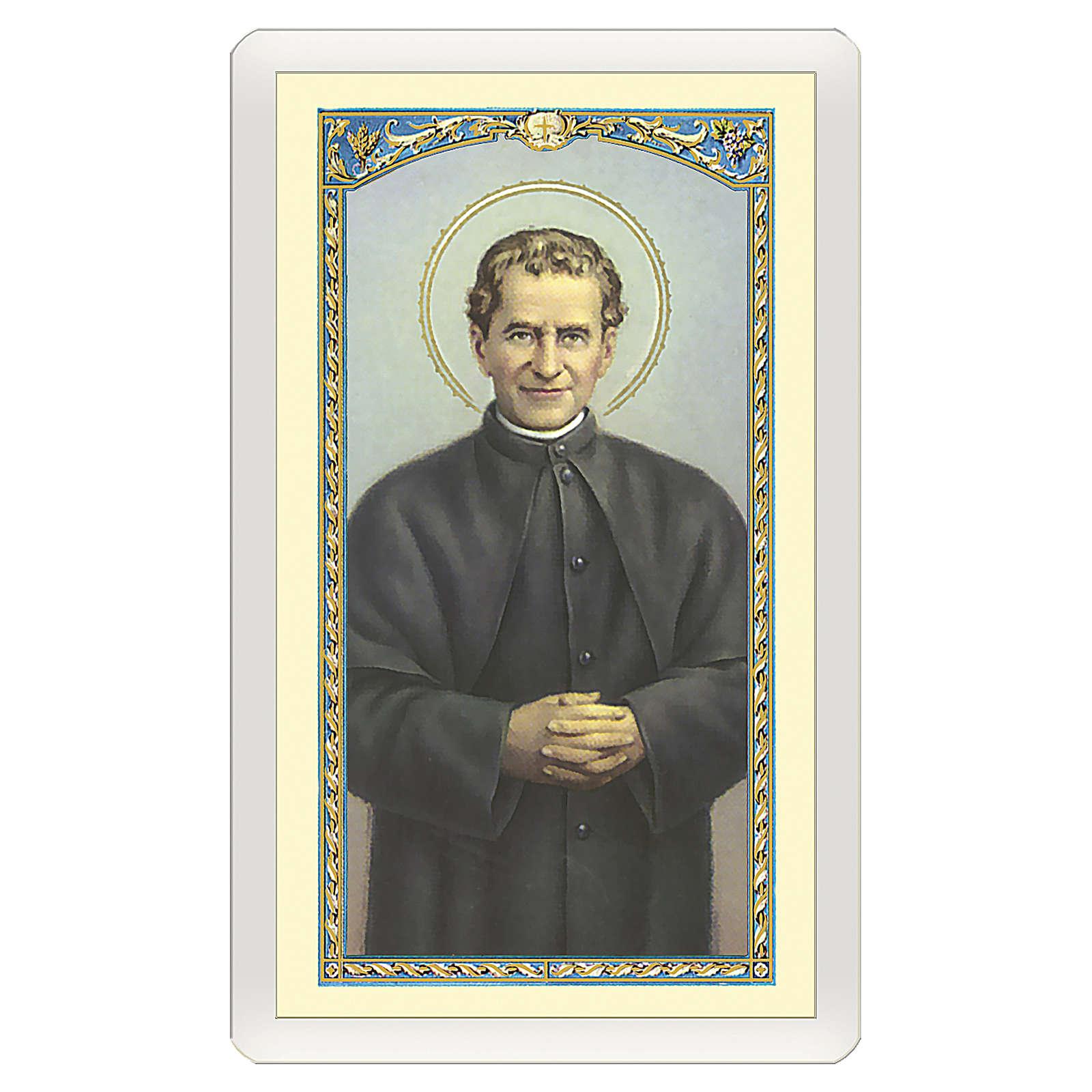 Estampa religiosa San Juan Bosco Oración de Don Bosco ITA 10x5 4