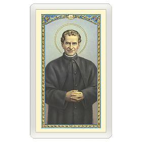 Estampa religiosa San Juan Bosco Oración de Don Bosco ITA 10x5 s1