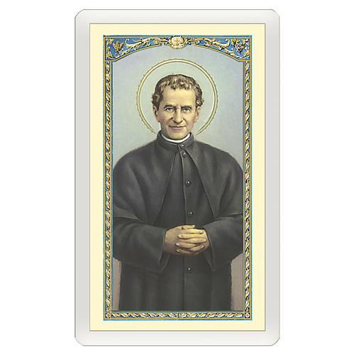 Estampa religiosa San Juan Bosco Oración de Don Bosco ITA 10x5 1