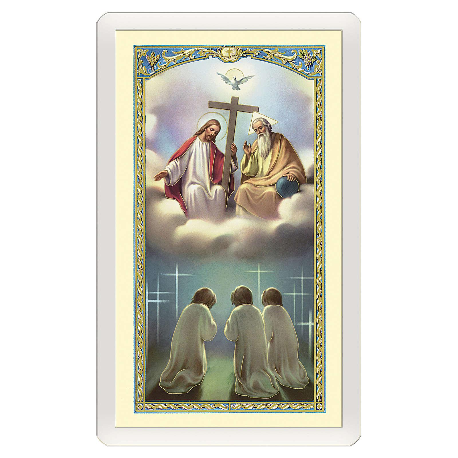 Image dévotion Très Sainte Trinité Gloire au Père ITA 10x5 cm 4