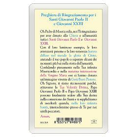 Estampa religiosa Oración Agradecimiento Papas Juan XXIII y Pablo II ITA 10x5 s2
