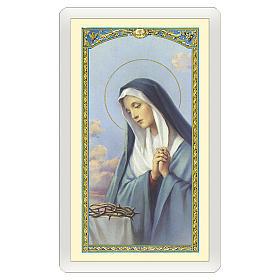 Estampa religiosa Virgen Dolorosa Oración ITA 10x5 s1