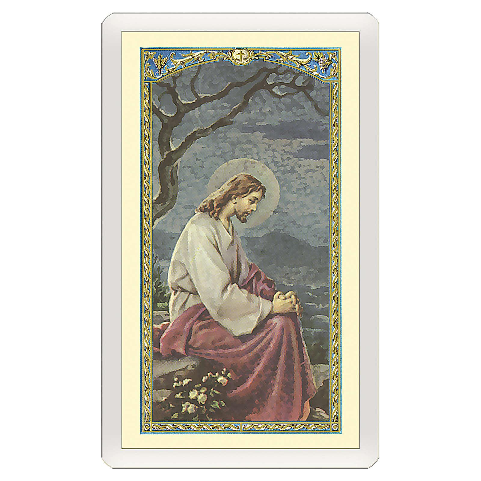 Image dévotion Jésus dans le jardin de Gethsémané Prière pour ceux qui pleurent ITA 10x5 cm 4