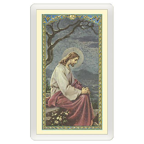 Image dévotion Jésus dans le jardin de Gethsémané Prière pour ceux qui pleurent ITA 10x5 cm 1