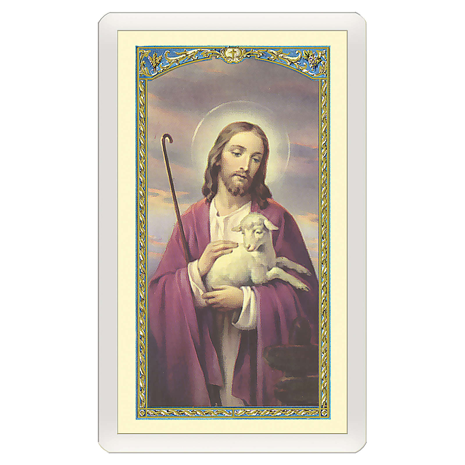 Santino Gesù che accarezza l'Agnello Dio di Tenerezza ITA 10x5 4