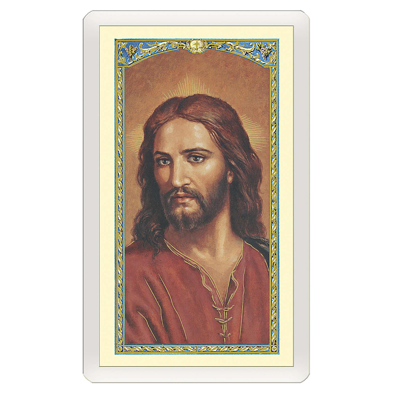 Image dévotion Visage de Jésus Prière de la personne âgée ITA 10x5 cm 4