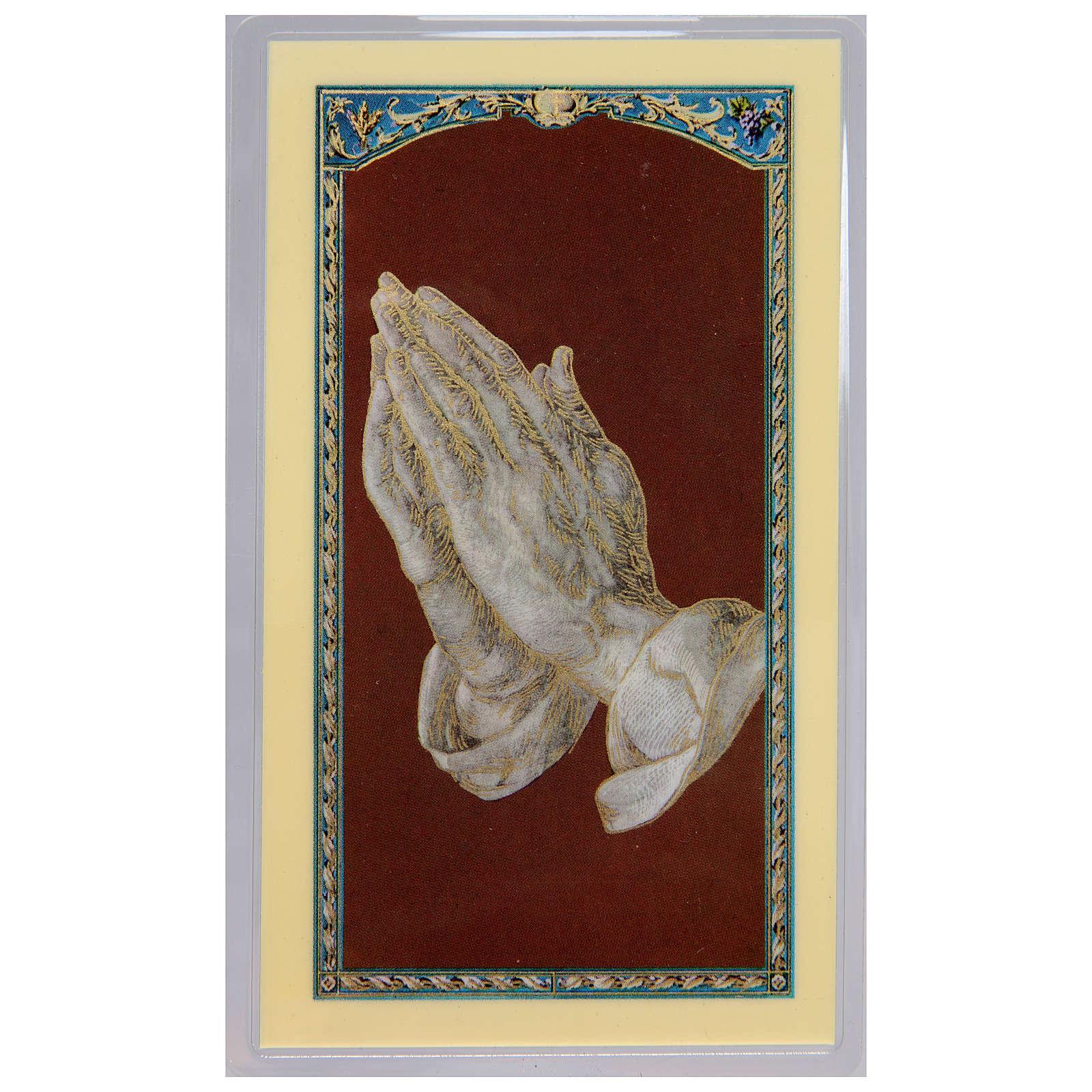 Santino Mani in preghiera di Durer Preghiera della Serenità ITA 10x5 4