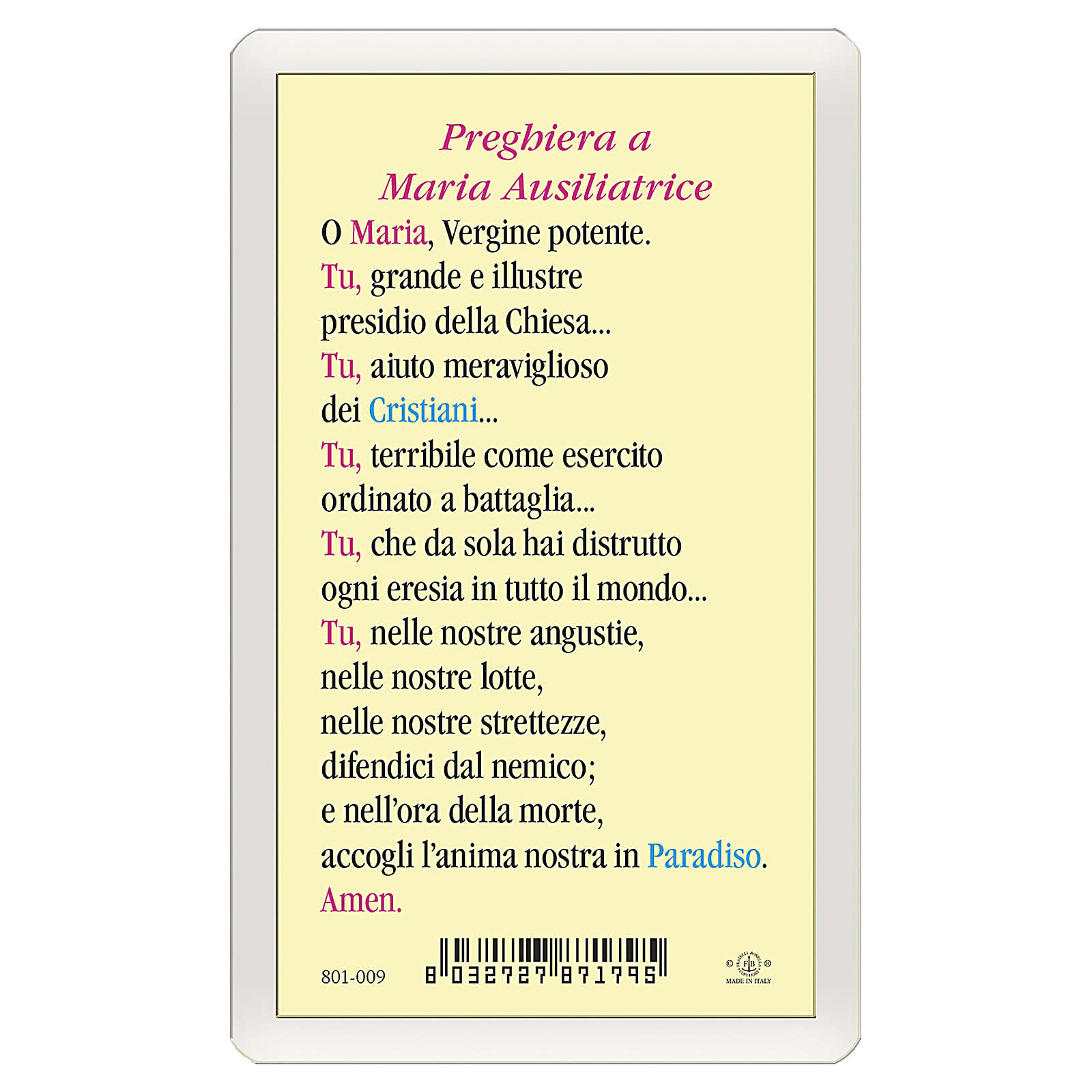 Santino Maria Ausiliatrice Preghiera a Maria Ausiliatrice ITA 10x5 4