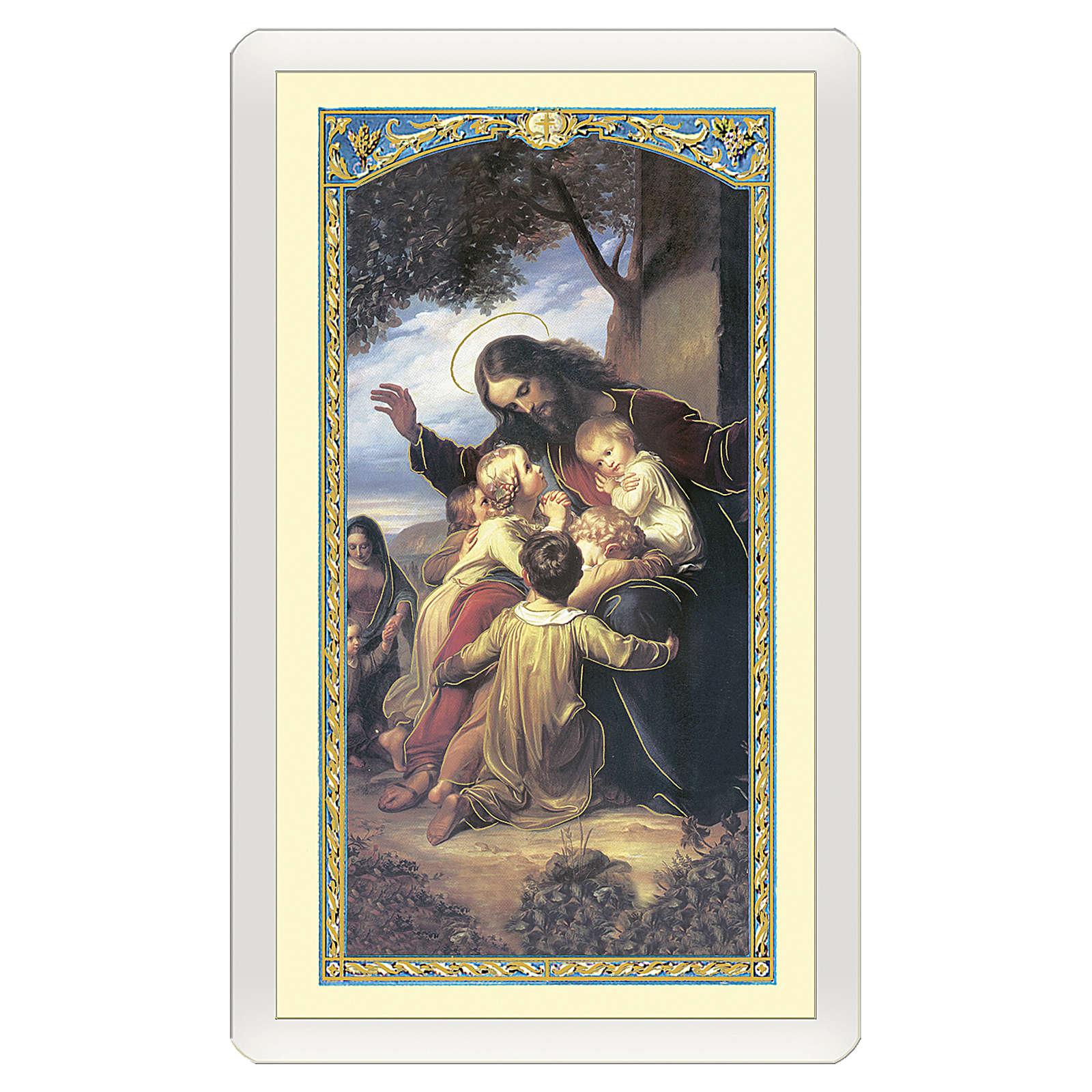 Estampa religiosa Jesús y los pequeños Oración del joven deportivo ITA 10x5 4