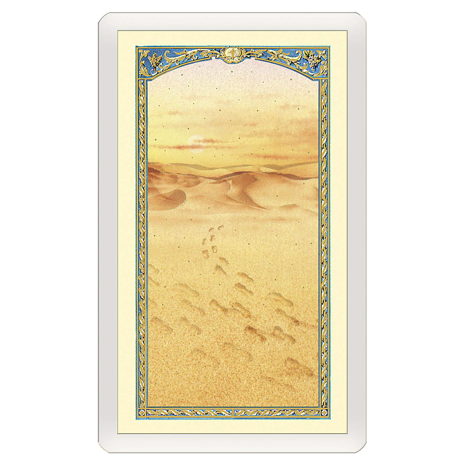 Estampa religiosa Imagen de las huellas en la arena Mensaje de Ternura ITA 10x5 4