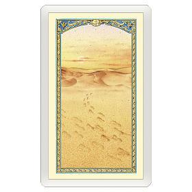 Estampa religiosa Imagen de las huellas en la arena Mensaje de Ternura ITA 10x5 s1