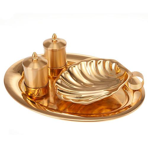 Zestaw naczyń do chrztu złoty satynowany 1