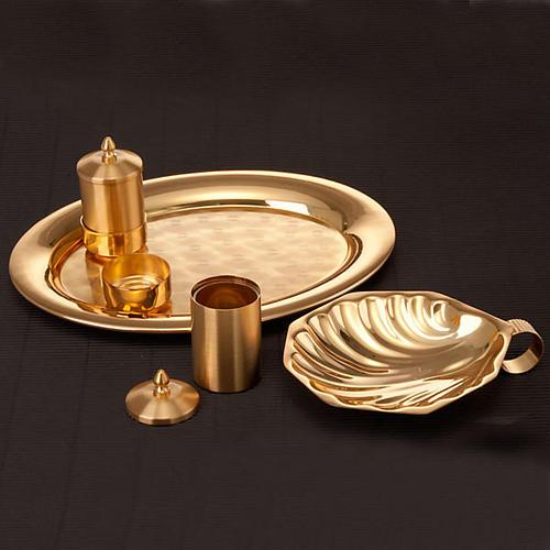Zestaw naczyń do chrztu złoty satynowany 4