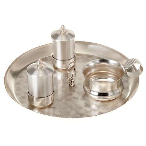 Zestaw naczyń do chrztu srebrny satynowany 1