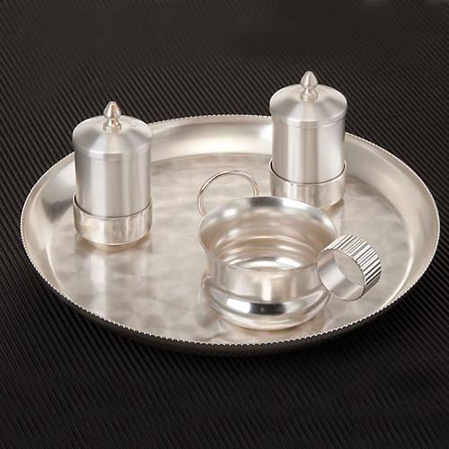 Zestaw naczyń do chrztu srebrny satynowany 2