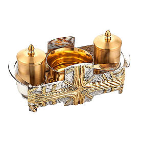 Baptismal sets and Holy oil stocks: Baptism set silver and gold cross