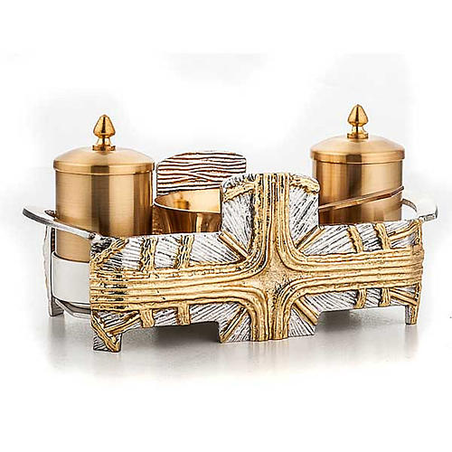 Baptism set silver and gold cross 2