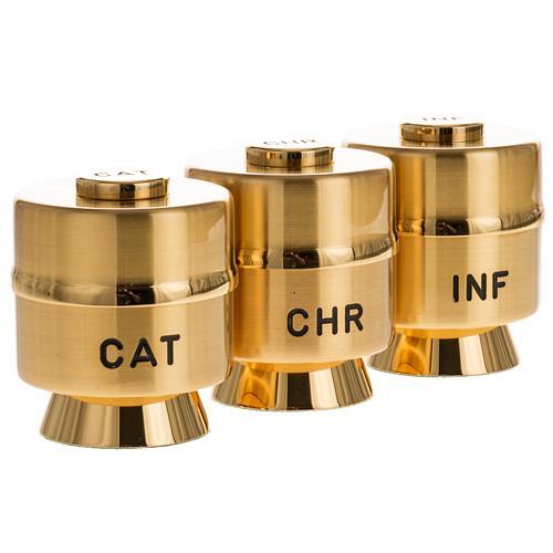 Vases huiles saintes laiton doré 2