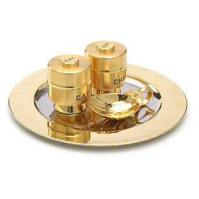 Holy Oils: set with brass stocks and a baptismal shell s4