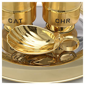 Holy Oils: set with brass stocks and a baptismal shell s5