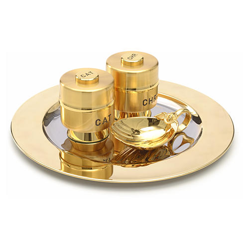 Holy Oils: set with brass stocks and a baptismal shell 4