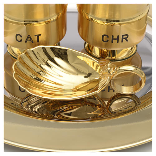 Holy Oils: set with brass stocks and a baptismal shell 5