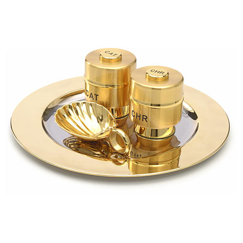 Holy Oils: set with brass stocks and a baptismal shell 2