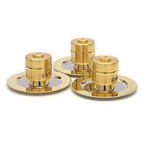 Holy Oils: Stock, gold plated brass, with a saucer s4