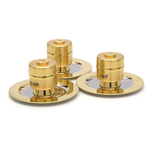 Holy Oils: Stock, gold plated brass, with a saucer 2