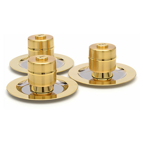 Holy Oils: Stock, gold plated brass, with a saucer 3