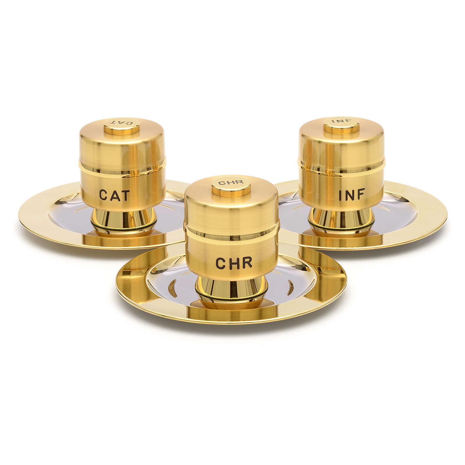 Oli santi: vasetti ottone dorato con piattino 3