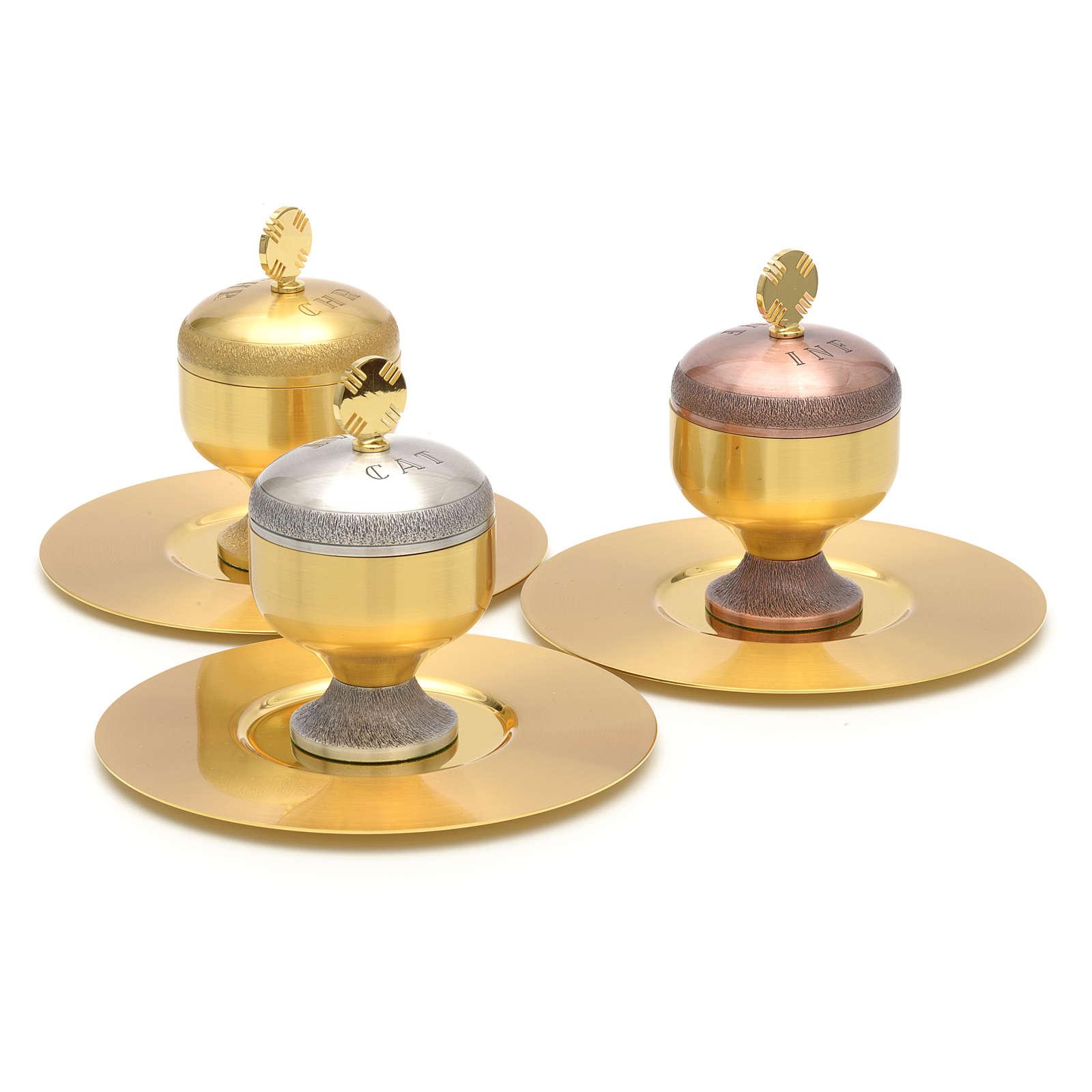 Oli santi: vasetti ottone satinato con piattino 3