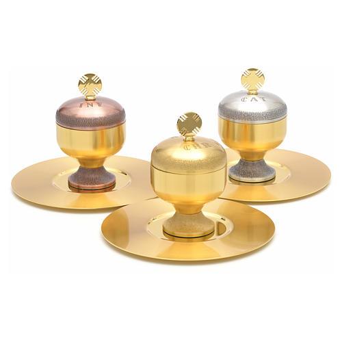 Oli santi: vasetti ottone satinato con piattino 1