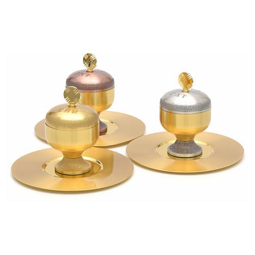 Oli santi: vasetti ottone satinato con piattino 2
