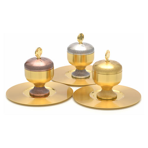 Oli santi: vasetti ottone satinato con piattino 4