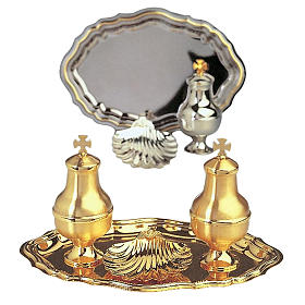 Baptism set: vessels and shell gold-plated brass s1