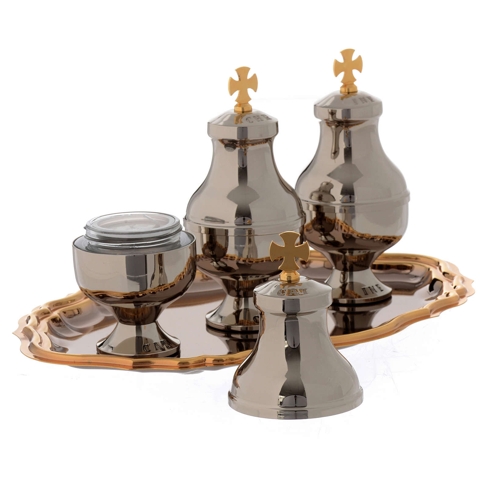 Holy oils vessels and plate in gold-plated brass 3