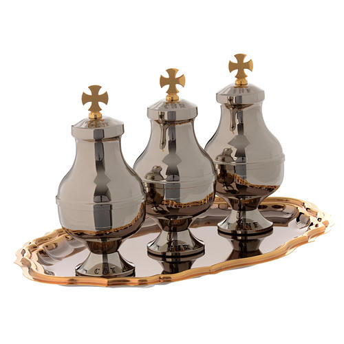 Holy oils vessels and plate in gold-plated brass 4