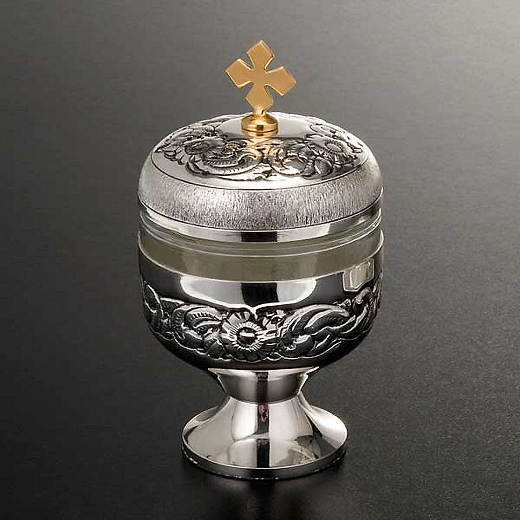 Holy oils: vase in chiseled silver-plated brass 3