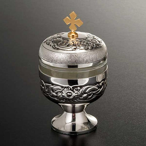 Holy oils: vase in chiseled silver-plated brass 5