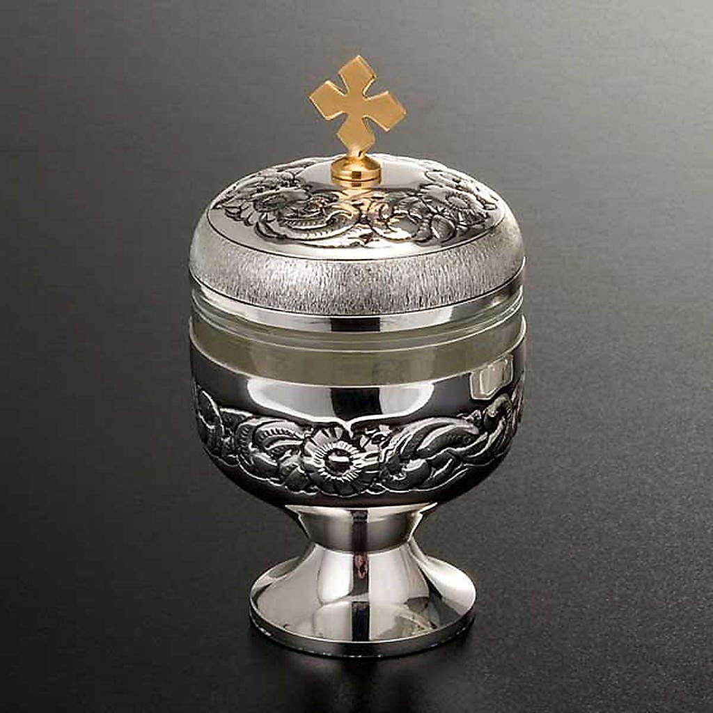 Ampoule saintes huiles argentée ciselée 3